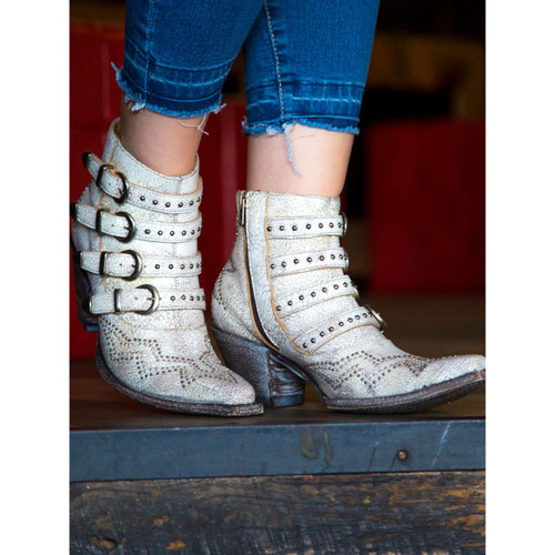 """BL2794-7 OLD GRINGO ROXY 5"""" CRACKLED MILK LEATHER ANKLE BOOTS"""