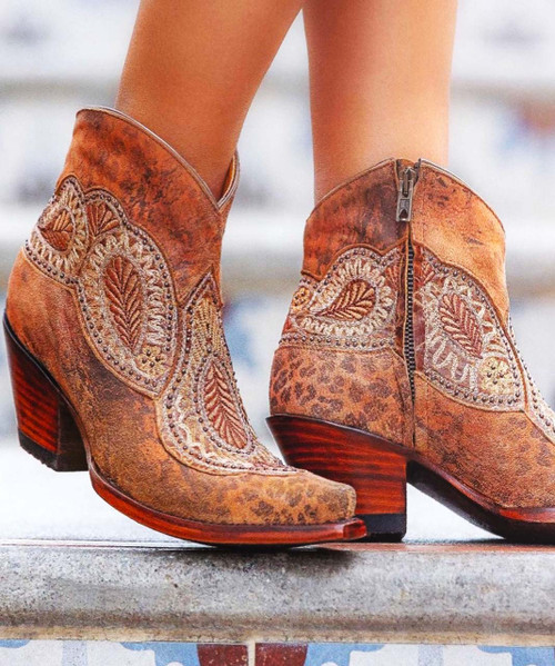 """BL2978-5 OLD GRINGO BIANCA 5"""" OCHRE/GOLD LEATHER ANKLE BOOTS"""