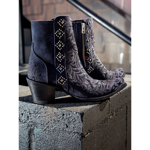 """BL2985-3 OLD GRINGO WINK 7"""" SUEDE BLUE LEATHER ANKLE BOOTS"""