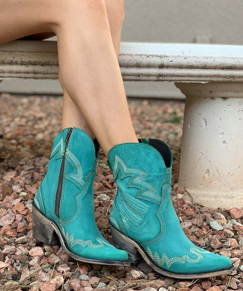 "LB7129124C Liberty Black Patty Fontana Crack Turqueza 7"" Ankle Boots"