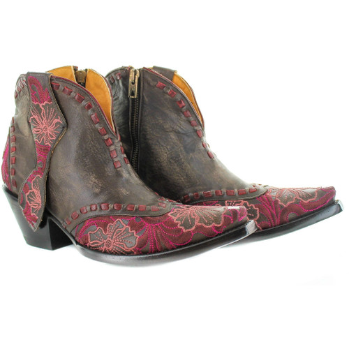 """BL3083-2 OLD GRINGO ERIN PULLS 5"""" VES CHOC/RED LEATHER ANKLE BOOTS"""