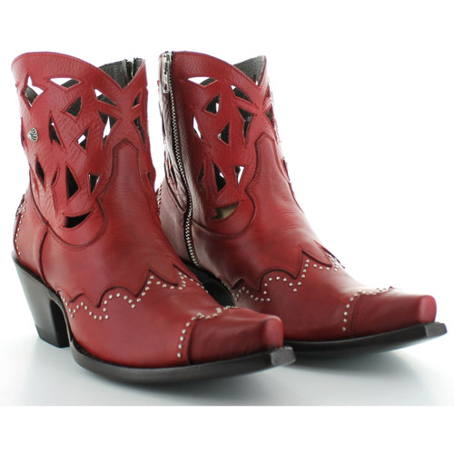 """BL3124-1 OLD GRINGO DEVA 6"""" RED LEATHER ANKLE BOOTS"""