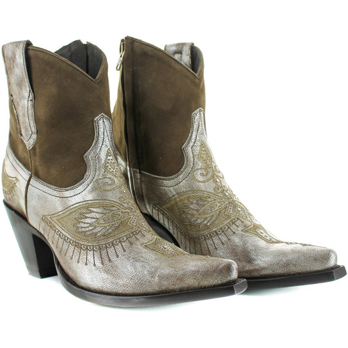 """BL3129-1 OLD GRINGO JANE 7"""" SILVER LEATHER ANKLE BOOTS"""