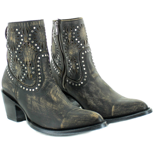 """BL3242-1 OLD GRINGO REEVE SHORT 7"""" RUSTIC BEIGE/BLK LEATHER ANKLE BOOTS"""