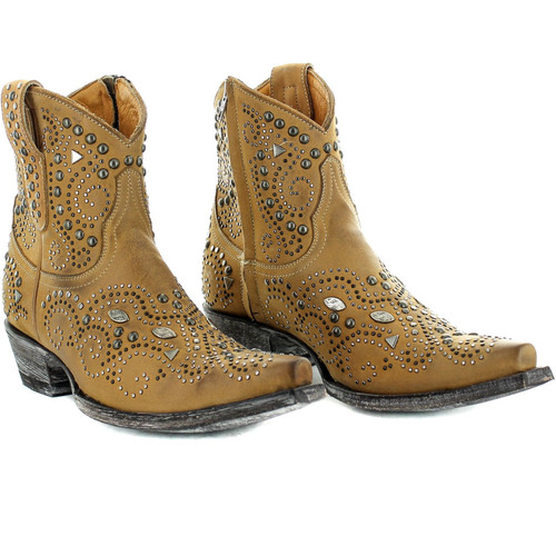 """BL3246-1 OLD GRINGO ARIEL 7"""" BEIGE LEATHER ANKLE BOOTS"""