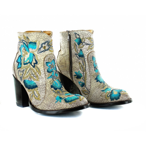 """BL3317-3 OLD GRINGO MAYFLOWER 6"""" CRACKLED WHITE LEATHER ANKLE BOOTS"""
