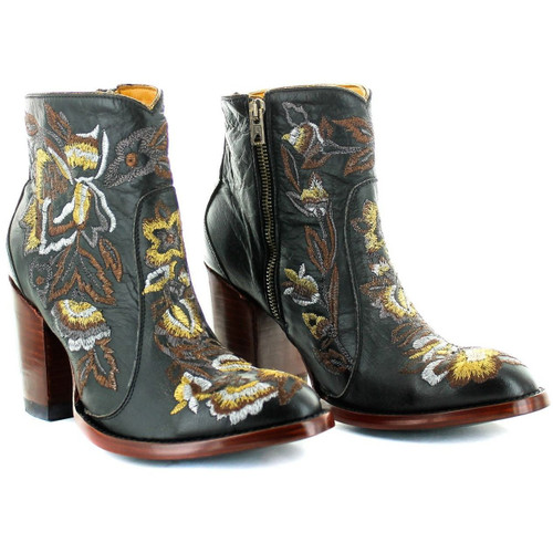 """BL3317-4 OLD GRINGO MAYFLOWER 6"""" VESUVIO BLACK/GOLD LEATHER ANKLE BOOTS"""