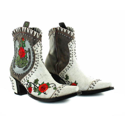 """BL3355-1 OLD GRINGO PITCH FORK 7"""" CRACKLED TAUPE/CHOC LEATHER ANKLE BOOTS"""