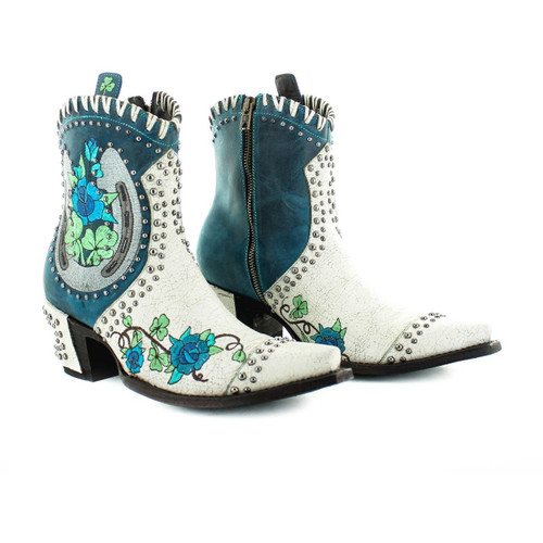 """BL3355-2 OLD GRINGO PITCH FORK 7"""" CRACKLED TAUPE/BLUE LEATHER ANKLE BOOTS"""