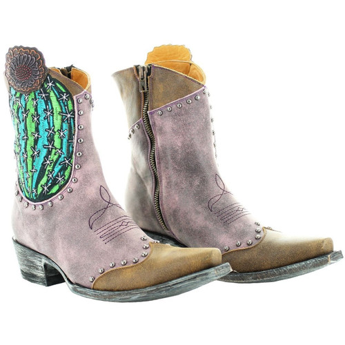 """BL3366-2 OLD GRINGO BARREL CACTUS 7"""" PINK/RUST LEATHER ANKLE BOOTS"""