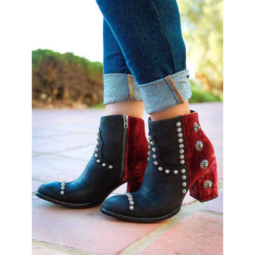 """DDBL006-3 DOUBLE D RANCH TAHOMA BOOT 5"""" BLACK/WINE LEATHER ANKLE BOOTS"""