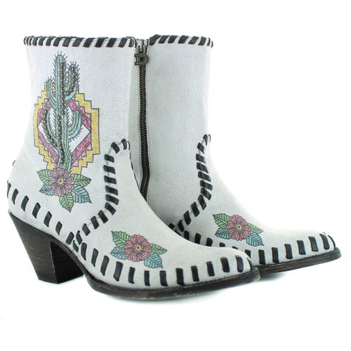"""DDBL040-1 DOUBLE D RANCH SAGUARO 7"""" CRACKLED WHT/BLK LEATHER ANKLE BOOTS"""