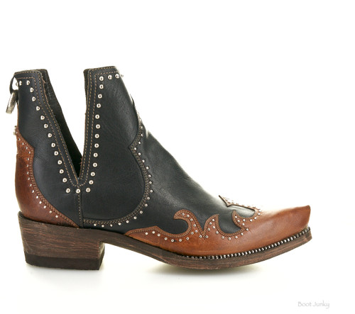 """DDBL048-2 DOUBLE D RANCH GOMEZ 6"""" BLACK/CHOCOLATE LEATHER ANKLE BOOTS (SNIP TOE)"""