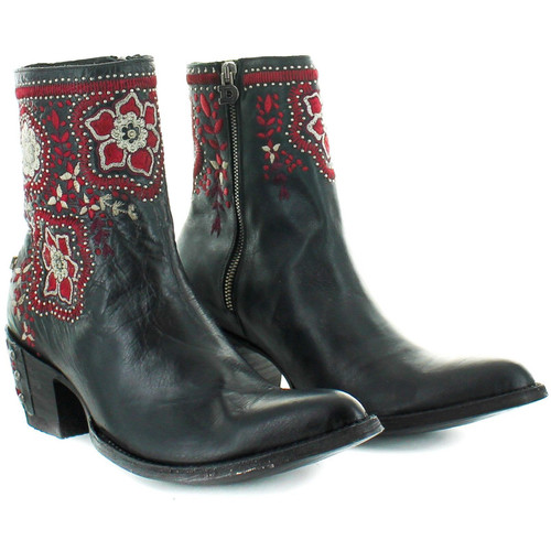 """DDBL049-3 DOUBLE D RANCH HELLISH DROUGHT 8"""" BLACK LEATHER ANKLE BOOTS"""