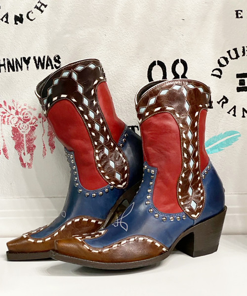 """DDBL059-3 DOUBLE D RANCH BAKERSFIELD 8"""" BLUE LEATHER ANKLE BOOTS"""