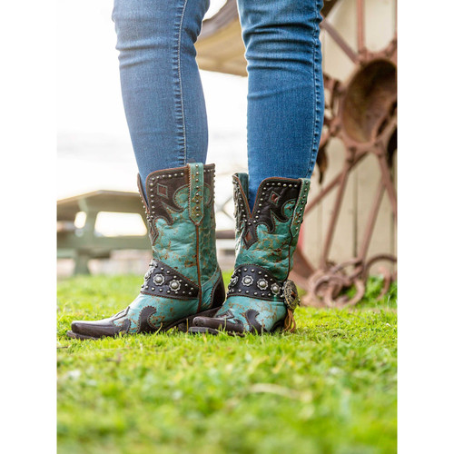"""DDL011-1 DOUBLE D RANCH RANCHITOS RIDGE 10"""" BLUE/CHOCOLATE LEATHER BOOTS"""