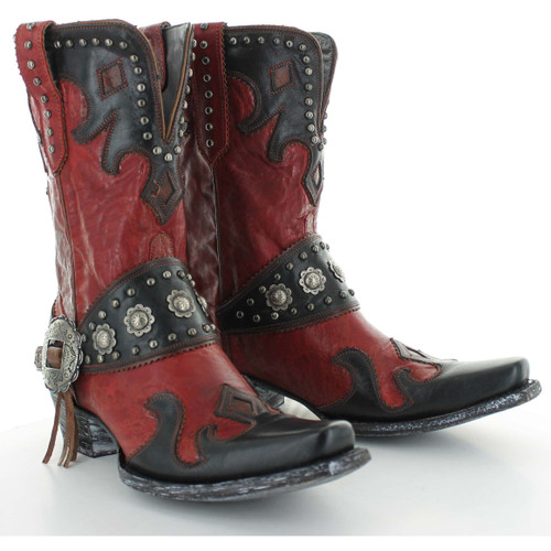 """DDL011-2 DOUBLE D RANCH RANCHITOS RIDGE 10"""" RED/BLACK/NUT LEATHER BOOTS"""