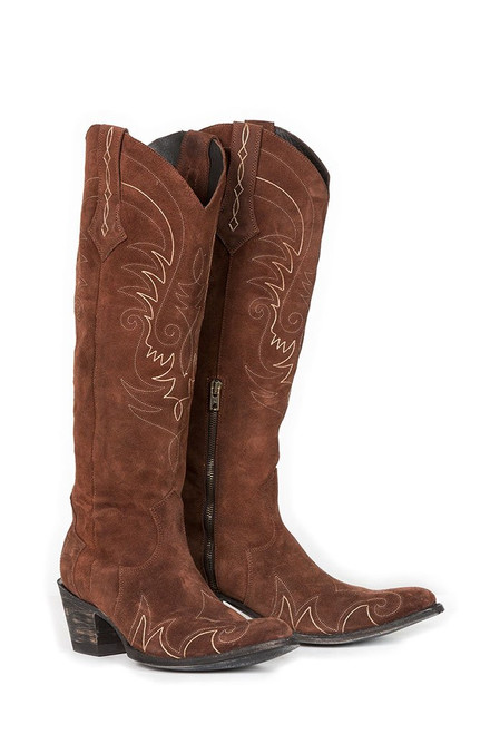 """DDL036-1 DOUBLE D RANCH LONG TALL SALLY 18"""" SUEDE BRUNETTE LEATHER BOOTS"""