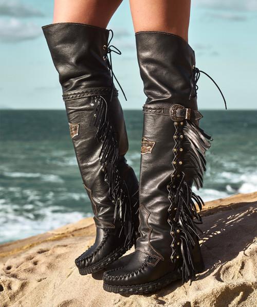 EL VAQUERO Coleen Drifter Wild Void Black Wedge Moccasin Boots