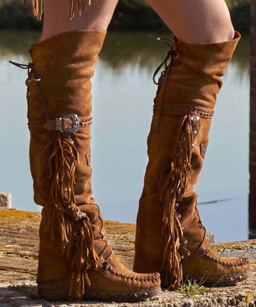 EL VAQUERO Coleen Drifter Silverstone Couro  Wedge Moccasin Boots