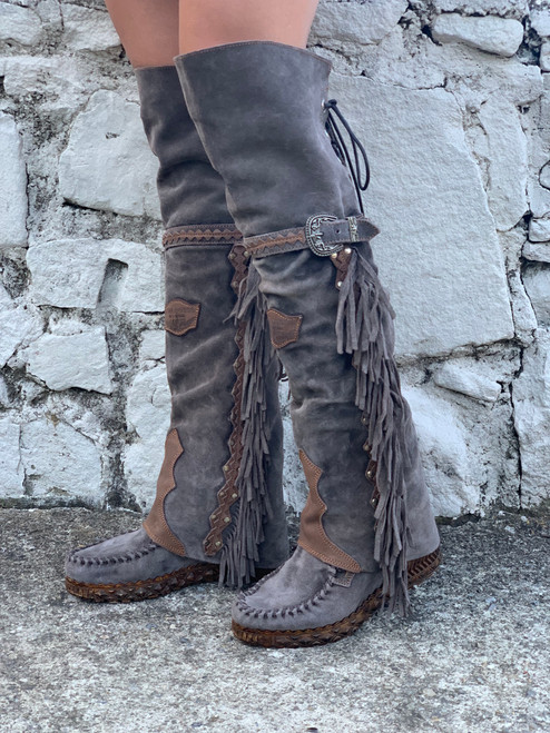 EL VAQUERO Coleen Drifter Silverstone Almond Taupe Wedge Moccasin Boots