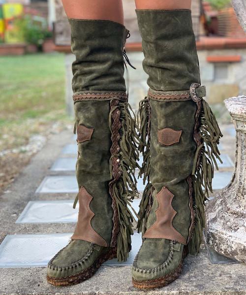 EL VAQUERO Coleen Drifter Silverstone Pine Wedge Moccasin Boots