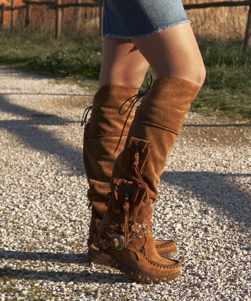 EL VAQUERO Wanderer Silverstone Carmel Couro Tall Boho Brushed Leather Boots