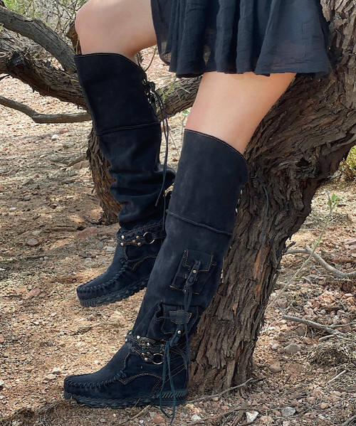 EL VAQUERO Wanderer Silverstone Carbon Tall Boho Brushed Leather Boots