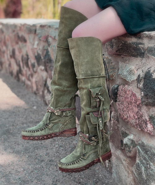 EL VAQUERO Wanderer Silverstone Pine Tall Boho Brushed Leather Boots