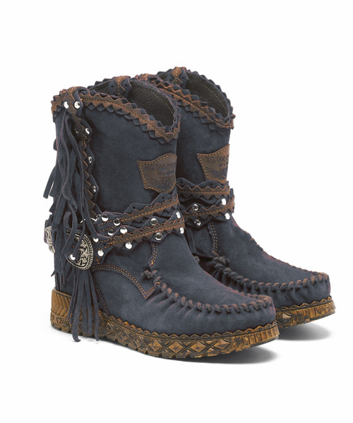 EL VAQUERO Arya Mocc Silverstone Tempest Gray Blue Leather Wedge Moccasin Boots