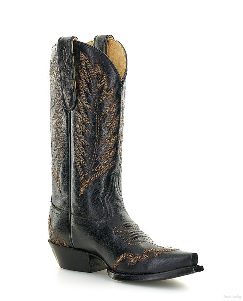 """SLMAA672 LIBERTY BLACK CABORCA DORY MOSSIL 12"""" BLACK EMBROIDERED LEATHER BOOTS"""