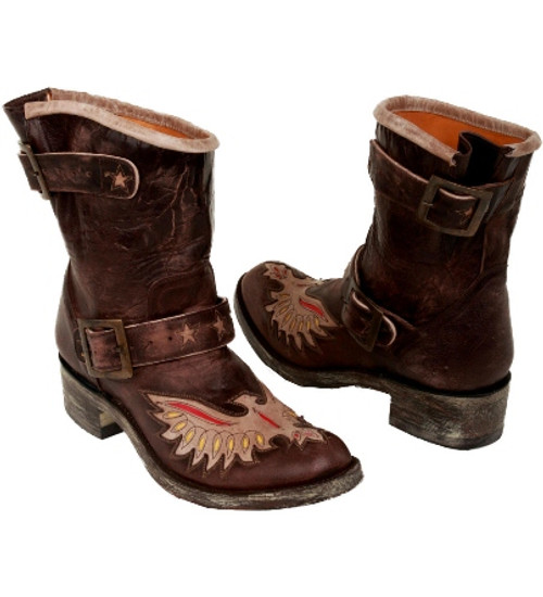 "L 785-6 OLD GRINGO BIKER EAGLE STAR CHOCOLATE/RED/YELLOW/BONE 8"" BIKER BOOTS"