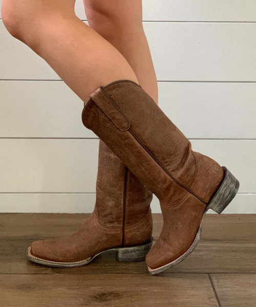 """YL 099-5 YIPPEE KI YAY BY OLD GRINGO """"LS ELSA"""" 13"""" ORYX BRASS LEATHER BOOTS"""