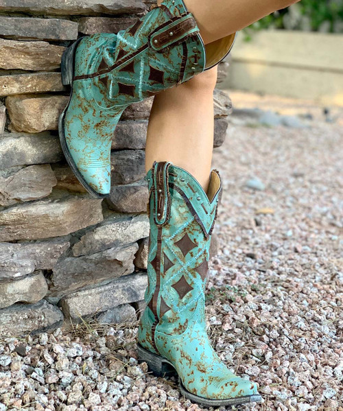 """YL 136-2 YIPPEE KI YAY BY OLD GRINGO PARCHES 13"""" TURQUOISE BRASS LEATHER BOOTS"""