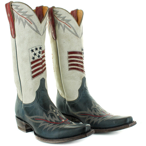 """L3182-1 OLD GRINGO BESSIE 13"""" CRACKLED TAUPE/BLUE LEATHER BOOTS"""