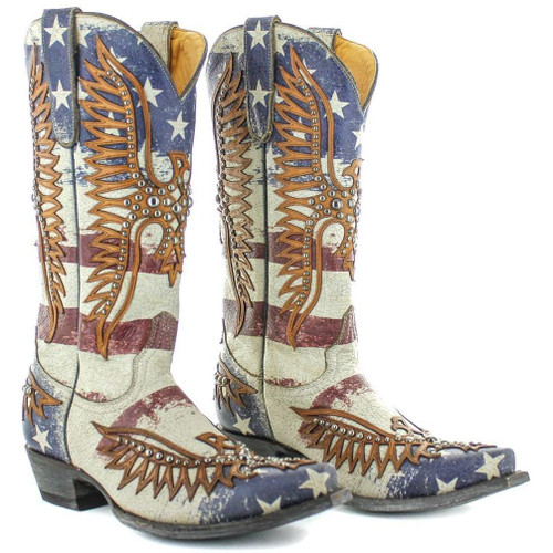 """L3290-1 OLD GRINGO FAIRVIEW 13"""" CRACKLED TAUPE/BLUE LEATHER BOOTS"""
