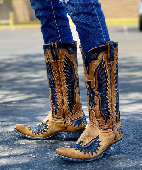 L 105-171 OLD GRINGO EAGLE BUTTERCUP NAVY  LEATHER BOOTS