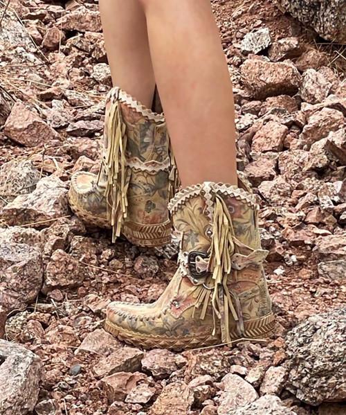 EL VAQUERO Arya Mocc Freedom Blossom Wedge Moccasin Fringe Boots