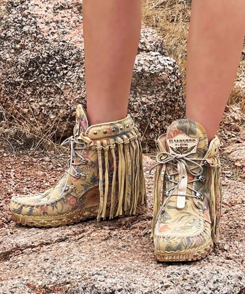 EL VAQUERO May Freedom Blossom Fringe Ankle Boots