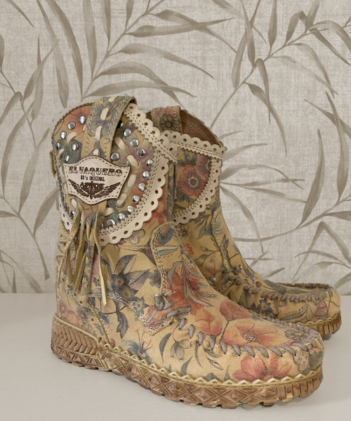 EL VAQUERO Phoebe Freedom Blossom Leather Wedge Moccasin Boots
