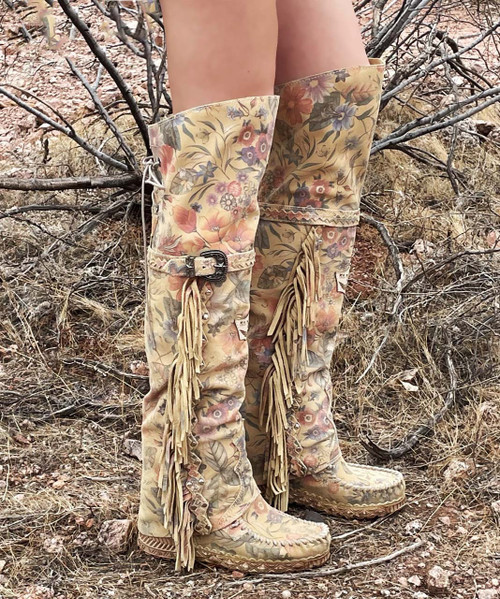 EL VAQUERO Coleen Freedom Blossom Tall Leather Wedge Moccasin Boots