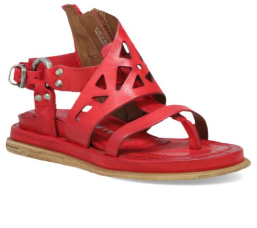 A.S.98 PADEN BLOOD RED LEATHER SANDALS