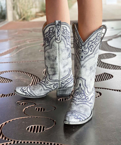 """YL 161-9 YIPPEE KI YAY BY OLD GRINGO LADIES SINTRA 13"""" BLUE LEATHER BOOTS"""