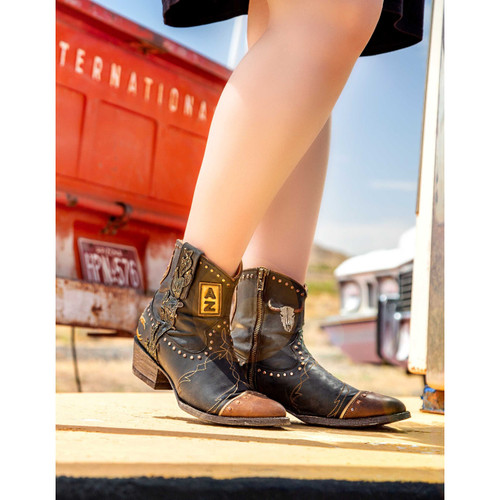 """BL3088-1 OLD GRINGO YUKON 7"""" BLACK LEATHER ANKLE BOOTS"""