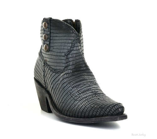 LELB-007D LIBERTY BLACK CORA GRAY BLACK LEATHER ANKLE BOOT