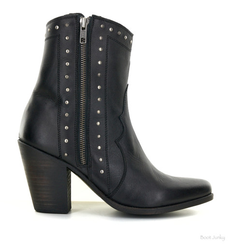 """LB711819A LIBERTY BLACK REBEL TOSCANA BLACK LEATHER 8"""" ZIPPERED ANKLE BOOT"""