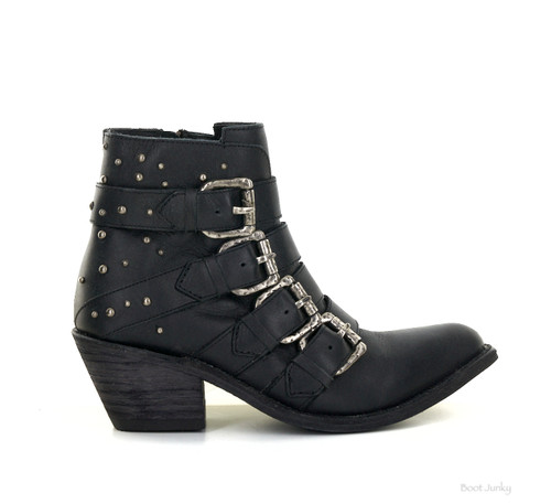 LB71303A LIBERTY BLACK ROCKER TOSCANO BLACK LEATHER BUCKLE ANKLE BOOT