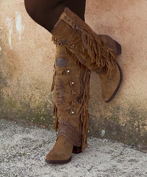 El Vaquero Katherine Silverstone Couro Tall Fringe Boots