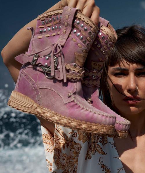 EL VAQUERO Yara Pink Kamo Lady Wedge MoccasinLeather Boots