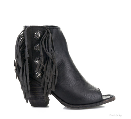 LB712807B  LIBERTY BLACK GYPSY TOSCANO BLACK LEATHER ANKLE BOOTS